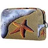 Bolso Cosmético Playa Estrella de mar Bolso de Maquillaje Bolsa de Almacenamiento portátil Estuche de Maquillaje con asa Makeup Toiletry Bag 18.5x7.5x13cm