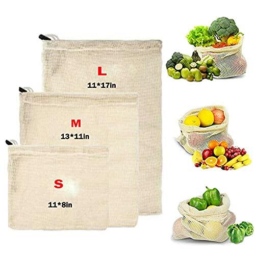3pcs / Set Reutilizables Producir Bolsas De Algodón Algodón Orgánico Malla De Legumbres Bolsas con Bolsas De Cordón Lavable Protector De Eco Alimentos