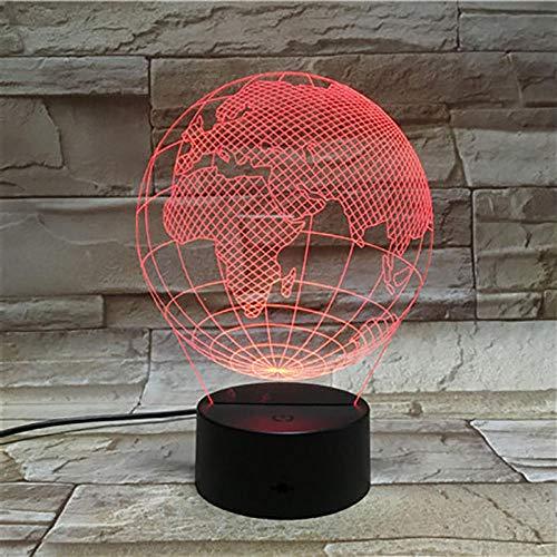 MAGICXYZ 3D Lampe 3D Leuchte 3D LED Stimmungslicht. 7 Farben - Auswahl aus 7 verschiedenen Motiven Erdkugel, Asien Europa, Afrika 1 ca.16x19cm inkl.3D Illusion mit USB Anschluß und 220V USB Netzteil