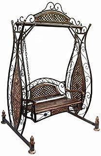 s k modern art Standard Size Wooden & Wrought Iron Fold-able Garden Swing,Jhula, Cradle