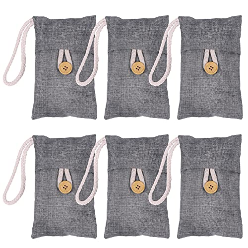 Charcoal Air Purifying Bag Activated Bamboo Charcoal Bags For Closet Deodorizer Moisture Absorber for Bathroom Activated Charcoal Bags Odor Absorber For Pet Car Home(6Pack 100g Each)
