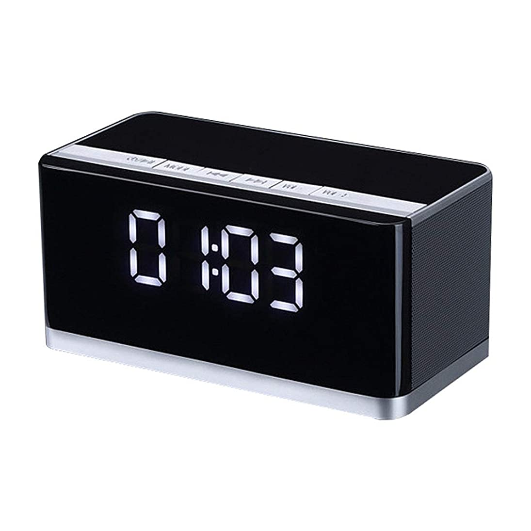 美容師満了管理します目覚まし時計ラジオ、Led デジタルディスプレイサポート Mp3 再生 Usb インターフェイス Tf ソケット4.0 ワイヤレスブルートゥース5w 家のためのステレオスピーカー、オフィス,Black