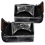Spec-D Tuning Black Housing Clear Lens Headlights + Bumper Lights + Corner Lamps for 1993-1996 Grand Cherokee Head Light Signal Parking Lamps L+R Pair