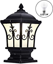 5W LED Outdoor Path Light, IP65 Waterproof Black Garden Lantern, Antique Pillar Lights with E27 Light Bulb, Courtyard Gard...