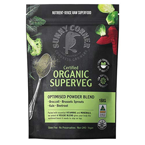SuperVeg Pure Organic Powder - Potent 4 Veggie Blend Easy Way to up Your Veggie Intake,Ideal for Smoothies and juices. Nutrient-Dense Raw Super Food Powder. Australian Made150 Grams.