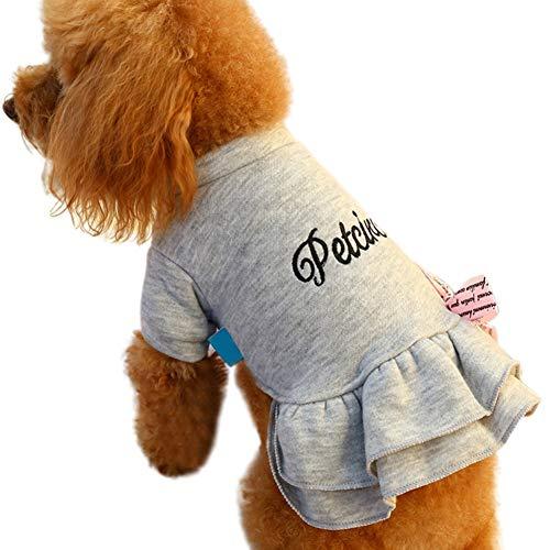 Etophigh Pet Warm Dress Brief Print Comfortabel verdikt kostuum voor hond meisjes, Large, grijs