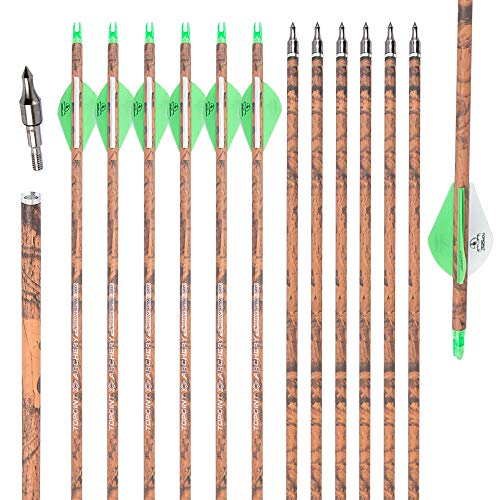TOPOINT ARCHERY 30 inch Carbon Arrows with Removable Tips, Practice Hunting Arrows for Compound & Recurve Bow(12 Pack) (CAMO-Spine 340)