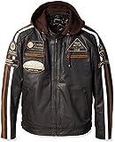 Urban Leather '58 GENTS' Giacca Moto Uomo in Pelle con Protezioni Per Schiena, Spalle e Gomiti Omologate CE | Marrone | 5XL
