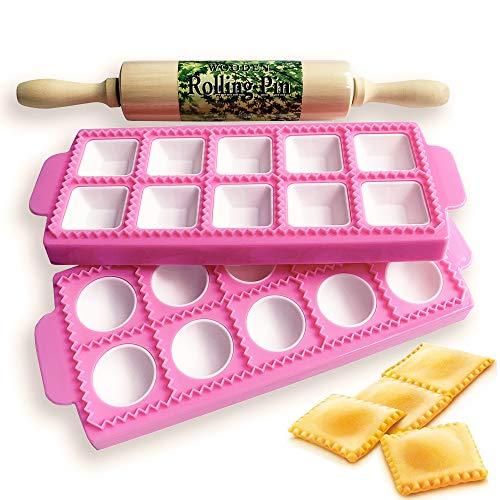 Gladworts Raviolini Pasta Maker Confezione Stampi per Ravioli e Tortelli, Stampo per Ravioli Grandi Tondi + Quadrati, Plastica, Mattarello in Legno