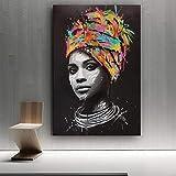 wojinbao Sin Marco El Lienzo de Pared Africano Abstracto de la Muchacha Pop Moderno y Las Mujeres Negras decoran para el hogar