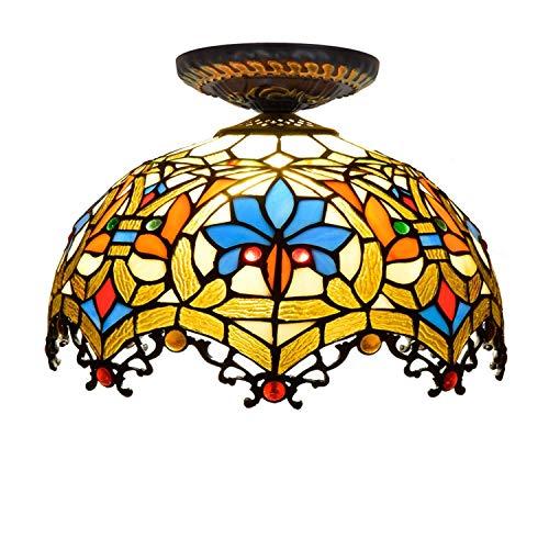 BXU-BG Tiffany Style - Lámpara de techo de 12 pulgadas semi empotrada estilo Tiffany azul loro pantalla de cristal, para sala de estar lámpara de techo iluminación