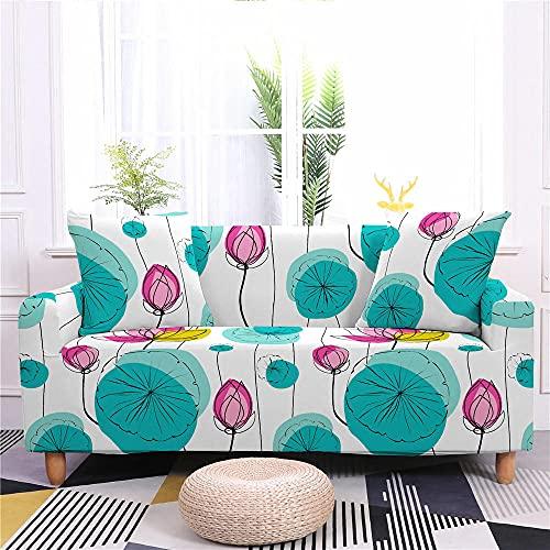 Funda de Sofá Elastica 4 Plazas Flor Azul Rosa 3D PoliéSter Spandex Universal Ajustable Cubre Sofas Antisuciedad Antideslizante Protector Cubierta Muebles con Cuerda de Fijación