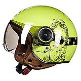 Medio casco de motocicleta Cool Girl Retro para hombres y mujeres Protector solar ligero Modelado Casco de cara abierta 3/4 Casco de scooter certificado por DOT/ECE, M-XL (54-60cm),F,M