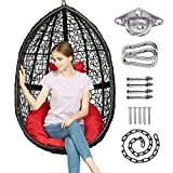 Greenstell Hammock Chair with Hanging Kits, Cushion & Pillow, Egg Large Rattan Wicker Swing Hanging Chair, Multifunctional Swing Chairs for Indoor, Outdoor, Patio, Garden (Black Chair+Red Cushion)