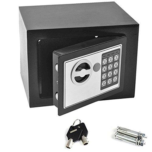 Digital Electronic Safe box for home office, 4.6l, piccola 17x 22,9x 17cm nero, da parete, design cabinet casseforti di ancoraggio per contanti gioielli con 2chiavi di emergenza