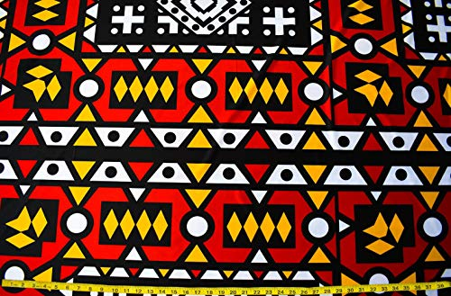 Angolan Samakaka 4 Way Stretch Fabric | Stretch Jersey African Inspired Fabric with Spandex ST10 (Red and Yellow)