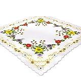 Tischdecke Bunte Blumen, 85x85 cm, weiß Ecru, Bedruckte Mitteldecke für Frühling und Sommer