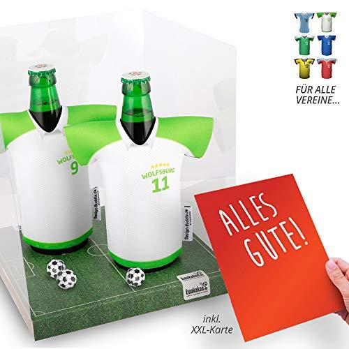 vereins-Trikot-kühler Away für VFL Wolfsburg-Fans | 2er Geschenk-Box-Edition| 2X Trikots | Fußball Fanartikel Jersey Bierkühler by Ligakakao