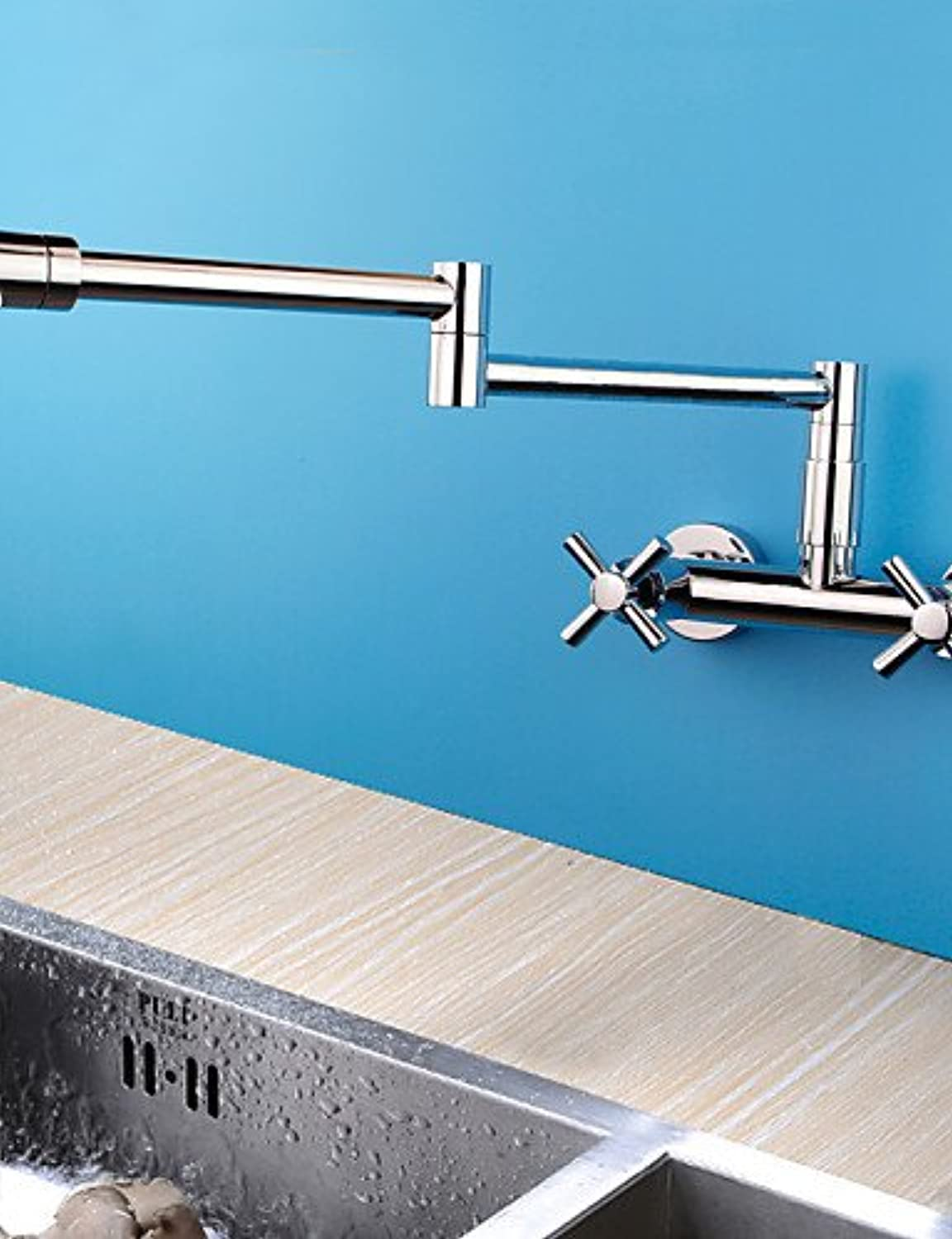 KHSKX Wall Mounted Two Handles Two Holes with Chrome Kitchen faucet