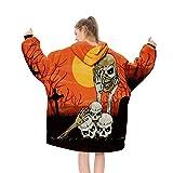 YLXD Hoodie TV Manta, Halloween Manta con Capucha Usable Suave de Forro Polar de Sherpa Cálida Sudadera con Capucha Casual Pullover Suéter de Franela con Grande Bolsillo Hombre Mujer