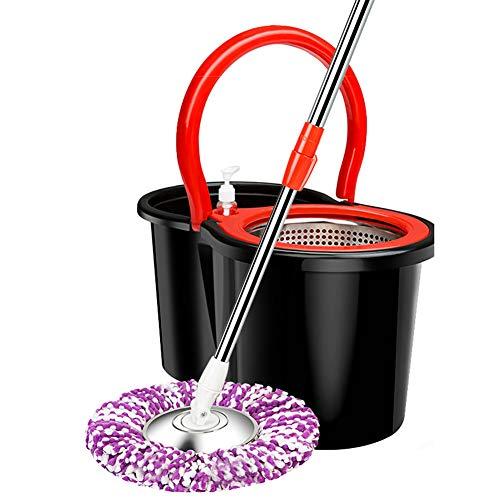 Roestvrij staal 360 Spin Mop & Emmer Systeem, Zelf Wringing Mop Met Microfiber Mop Hoofden, Verlengd Lengte Verstelbare Mop Paal, voor Hardhout Vloeren en Tegels