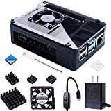 Smraza Compatible with Raspberry Pi 4 Case, Acrylic Case with 35 x 35 mm Cooling Fan, 4PCS Heatsinks, 5V 3A USB-C Power Supply for Raspberry Pi 4 Model B (Upgrade, Large Fan and Large Heat Sinks)