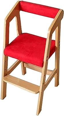 YXX-ダイニングチェア 赤い装飾されたダイニングサイドチェア子供用ウッド、高さ調節可能な生地シート、1.5〜15歳の赤ちゃんに適した (色 : 木の色, サイズ さいず : Set of 6)