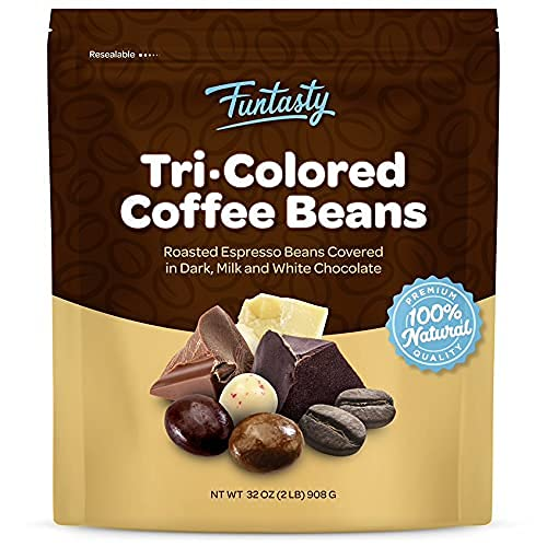 Funtasty Chocolate Covered Espresso Coffee Beans Tri-Colored, 2 Pounds