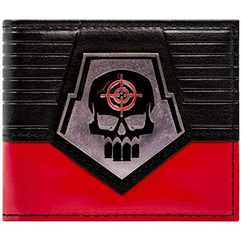 Cartera de Suicide Squad Deadshot Crneo de Placa de Metal Logo Negro