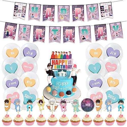 Birthday Party Supplies Decoraciones BETOY 44PCS BTS Conjunto de Decoración de...