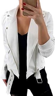 Women Casual Long Sleeve Zipper Closure Moto Biker Short Jacket White XL