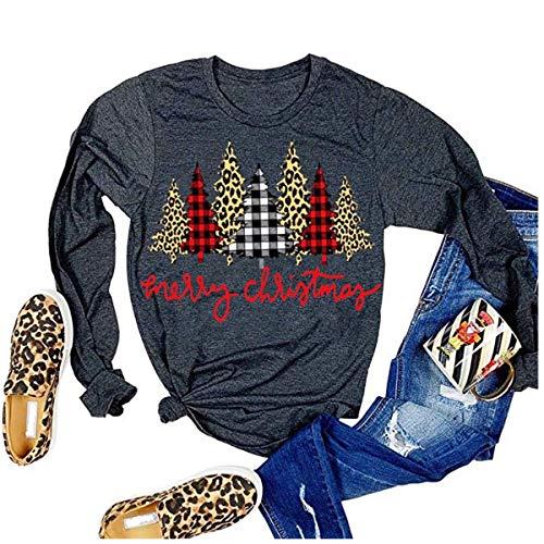 Qbily Womens Long Sleeve Christmas Graphic Tees Casual Letter Printed T-Shirts Tops (L, Dark Gray)