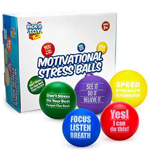 Motivational Stress Balls for Kids and Adults (5-Pack) Promote Anxiety and Stress Relief   Motivate and Inspire Students, Staff, Teams   Squishy, Assorted Colors