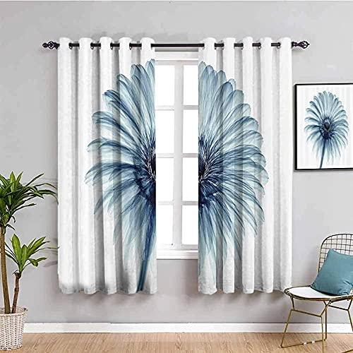 MXYHDZ Opacas Cortinas Dormitorio - Azul Moda Plantas Flores. - Impresión 3D Aislantes de Frío y Calor 90% Opacas Cortinas - 200 x 160 cm - Salon Cocina Habitacion Niño Moderna Decorativa