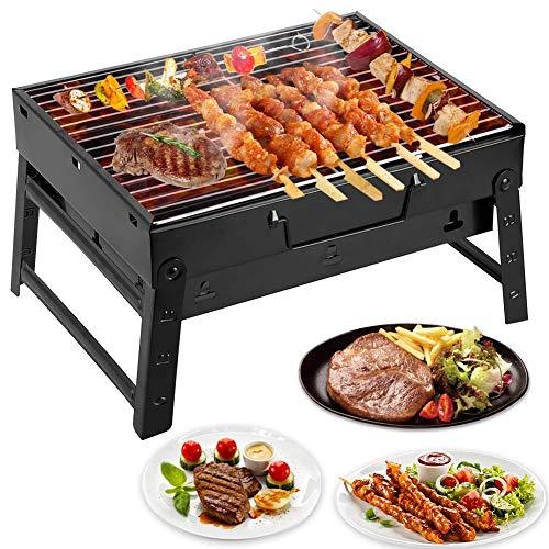 Mbuynow Barbacoa de Carbón Portátil con Parrillas y Pies Plegables para BBQ