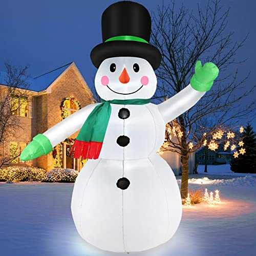7 FT Christmas Inflatables Snowman Outdoor Yard Decorations, Christmas Blow Up Snow Man with LED Lights & Black Hat, Winter Decor for Holiday Garden Patio Lawn, IP44 Weather Proof, Xmas Kids Gift