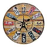 Brmeday Reloj De Pared De Madera, 35cm/14 Pulgadas, Reloj De Pared Grande, Sin Ruido De Tictac, Reloj De Pared Moderno, Vintage, Reloj De Pared Para Salón, Cocina, Dormitorio, Habitación De Los Niños