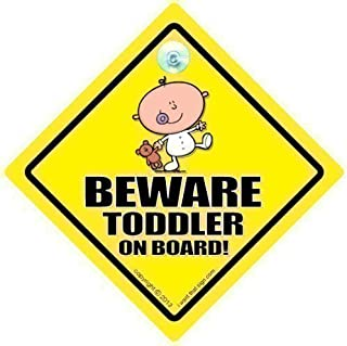 BABY iwantthatsign.com Beware Toddler On Board Car Sign, Toddler Baby Sign, Unisex Baby On Board, Grandchild On Board, Decal, Bumper Sticker