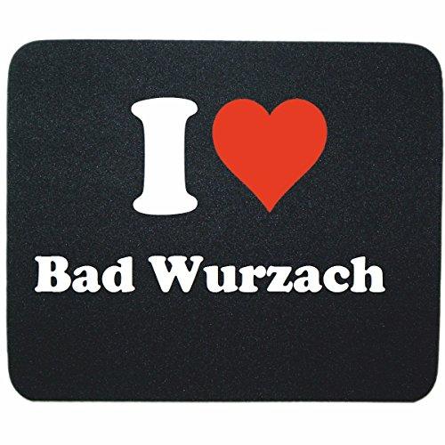 Gaming Mauspad I Love Bad Wurzach in Schwarz, eine tolle Geschenkidee die von Herzen kommt| Rutschfestes Mousepad | Geschenktipp: Weihnachten Jahrestag Geburtstag Lieblingsmensch