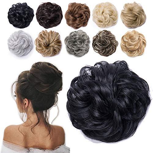 TESS Haarteil Dutt Schwarz Haargummi mit Haaren Gewellt Dicke Haarknoten Hochsteckfrisuren günstig Haarverlängerung Extensions für Frauen 40g