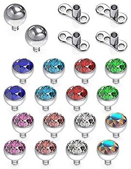 Dyknasz 18PCS Grade 23 Titanium Dermal Anchor Tops Internally Threaded Multicolor CZ Microdermal Piercing Jewelry for Women Men 3mm