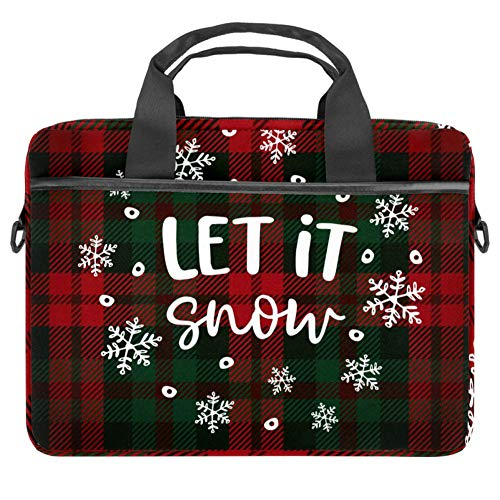 Inhomer Laptop Messenger Shoulder Bag Christmas Checkered Plaid with Falling Snowflakes Notebook Sleeve Carrying Briefcase Handbag