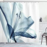 Ambesonne Flower Shower Curtain, Close Look to Flowerrrangement with X-ray Effect Nature Imagertwork Print, Cloth Fabric Bathroom Decor Set with Hooks, 70' Long, Teal White