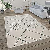 Paco Home Teppich Wohnzimmer Skandi Rauten Muster Modern Weiß Verschiedene Designs Größen, Grösse:120x170 cm, Farbe:Weiß