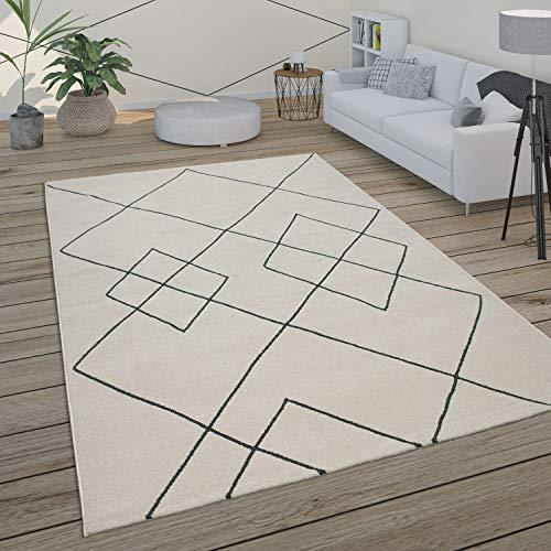 Paco Home Tapis Salon Scandinave Motif Diamant Moderne Blanc Différents Designs Tailles, Dimension:120x170 cm, Couleur:Blanc