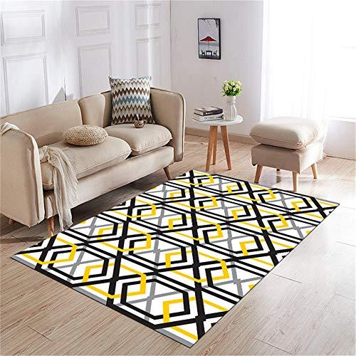 Kunsen decoración casa Decoracion Bebe habitacion La Alfombra Gris Negro línea Amarilla no se desvanece para Decorar la Sala de Estar Alfombra Infantil Grande 140X200CM 4ft 7.1' X6ft 6.7'