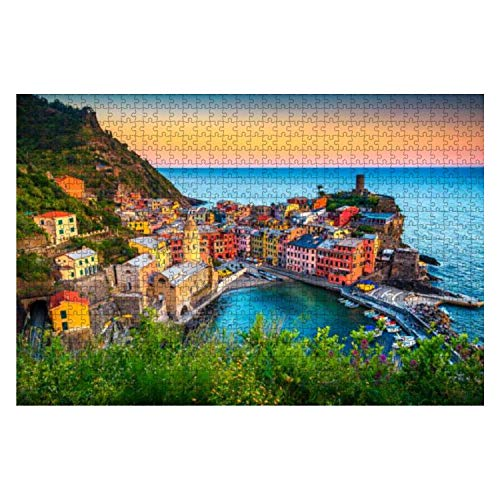 Famous touristic Town of Liguria with Beaches and Colorful Houses 1000 Piece Wooden Jigsaw Puzzle DIY Children Educational Puzzles Adult Decompression Gift Creative Games Toys Puzzles Home Decor