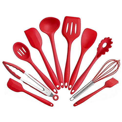 IWILCS Juego de utensilios de cocina de silicona, 10 unidades, no tóxico, antiadherente, color rojo