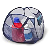 Smart Design Deluxe Mesh Pop Up Square Laundry Basket Hamper w/ Side Pockets & Handles - Durable Fabric Collapsible Design - for Clothes & Laundry - Home - (Holds 2 Loads) (17 x 14 Inch) [Blue]