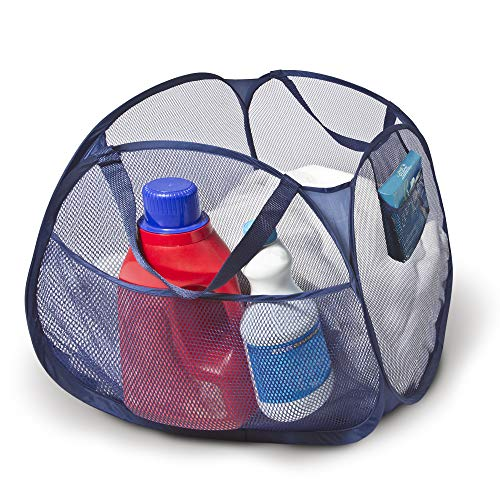 Smart Design Deluxe Mesh Pop Up Square Laundry Basket Hamper w/Side Pockets & Handles - Durable Fabric Collapsible Design - for Clothes & Laundry - Home - (Holds 2 Loads) (17 x 14 Inch) [Blue]